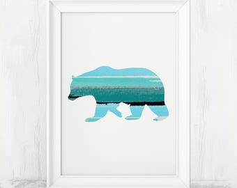 Bear Print, Rustic Bear Art, Bear, Bear Art Print, Bear Wall Art, Wildlife Decor, Bear Nursery Art, Bear Nursery Print, Woodland Nursery