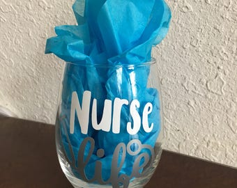Personalized Stemless wine glass 15 oz., Nurse Life