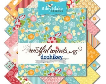 """Riley Blake Wistful Fabric Collection - 5"""" stackers, 18 pieces total"""