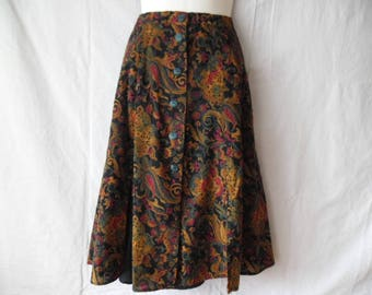 Vintage Handmade Elastic Waist Skirt,Lined Colorful Print Buttons Front A-line Skirt 90s,Abstract Print Colorful Sewn Skirt,Unique Skirt 90s