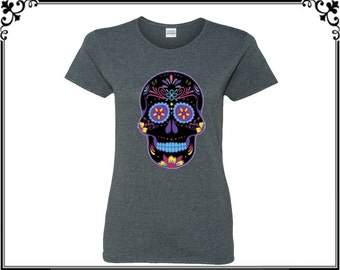Skull T Shirt Sugar Skull Shirts Tees Calavera Skull T Shirt Day Of The Dead Women T shirt Ladies T shirt hirt Gift For Her Party T shirt