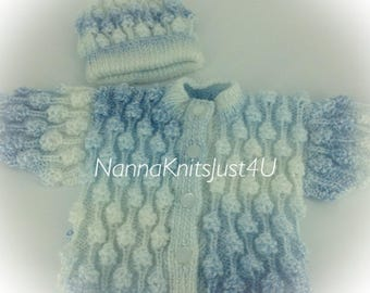 Handknitted baby boy girl  jacket and hat 0-6 months