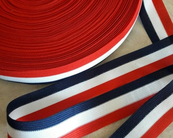 "1 1/3"", Trim, Stripe Red white & Blue, Ribbon, lace, gift wrap, polyester TRIM, Stripe trims, multi color, apholstery, garment attachments"