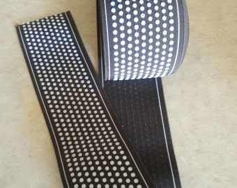"""3"""" wide x 1 3/4 yards, CHOCOLATE BROWN dotted  ELASTIC, garterized, colored garter, rubberized, garment attachment, white dot elastic"""