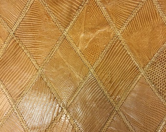 """AM034 Camel Colored Lizard Print Leather Aprox 23""""LX11""""W X 1/32"""" Thick/ LG"""