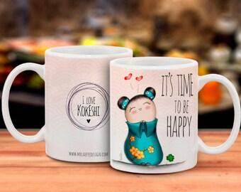 Cup/Mug with Turquoise dress Kokeshi HAPPY illustration