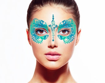 Teal Temporary Fake Tattoo Face Mask