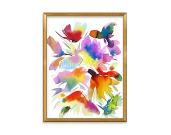 "Original painting, 9""x12"", watercolour flower, peinture abstraite, abstract flower, abstract wall art, Housewarming Gift, Anniversary Gift"