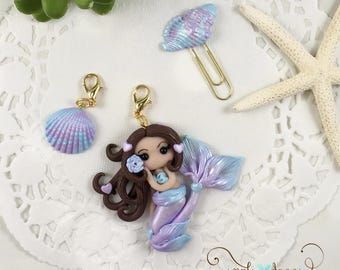 Traveller's Notebook Mermaid Charm Set and Shell Paperclip
