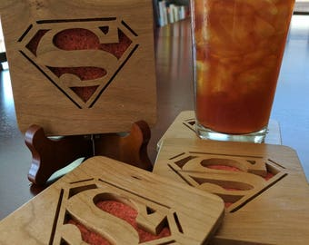 Superman Hand Cut Wooden Coasters