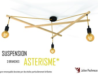 Pendant light Asterism*, black and mustard scandinavian chandelier