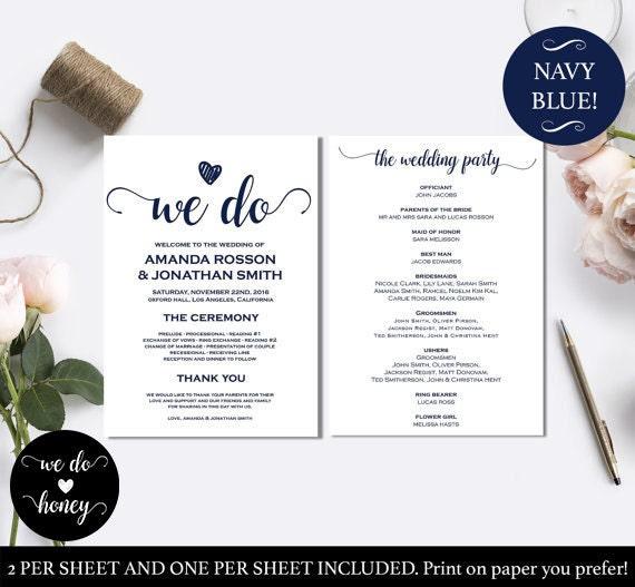 Wedding ceremony program template - Printable wedding ceremony program - Ceremony Printable Template - PDF Instant Download Menu WDH0056