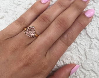 Size 7Sparkling Rose Druzy Ring. Rose gold gemstone, Drusy ring, rose druzy, 24k gold plate druzy ring, rose gold druzy ring, statement ring