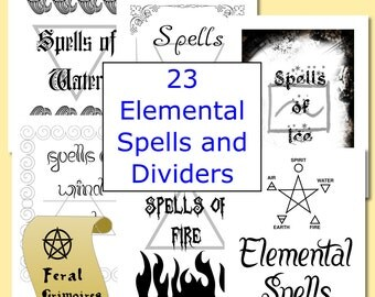 23 Pages Elemental Spells Instant Download Wicca Book of Shadows Pagan Witchcraft Grimoire