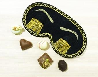 Black Holly Golightly Sleep Mask with Eyelashes Audrey Hepburn Night Mask Breakfast at Tiffany's Eye Mask Handmade Sleeping Mask Gift Idea