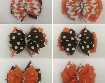 Two tiered Fall Themed Pinwheel Hair Bows