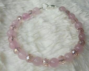 Rose quartz and pink Aurora Borealis Crystal sterling silver lobster clasp bracelet, bridesmaid, bride, wedding