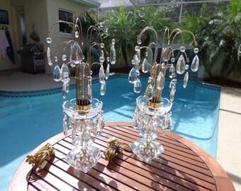 Vintage Mid Century Modern Hollywood Regency Cut Glass Waterfall Lamps (pair)