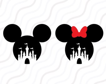 Disney Castle SVG, Mickey Mouse, Minnie Mouse SVG Cut table Design,svg,dxf,png Use With Silhouette Studio & Cricut_Instant Download