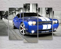 Dodge Challenger - Sports Car 5 Panel / Piece Canvas  - Wall Art - Living Room, Office, Bedroom Wall Art - Multi Panel Canvas - #007