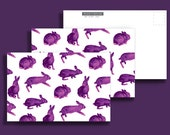 Three (3) Purple Rabbit 4x6 Postcards