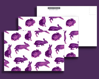 Three (3) Purple Rabbit 4x6 Postcards - Rabbitgrams are perfect for any occasion!