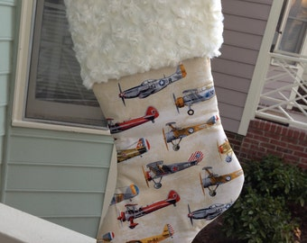 Vintage Planes Stocking, Airplane Stocking,