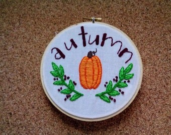 Fall Embroidery hoop art Pumpkin embroidery Custom embroidery hoop Hand stitched Color Hand embroidery