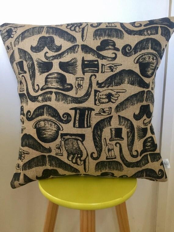 Moustache hessian natural & black cushion cover