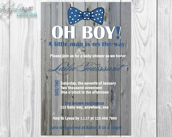 OH BOY Bow Tie Baby Shower Invitation