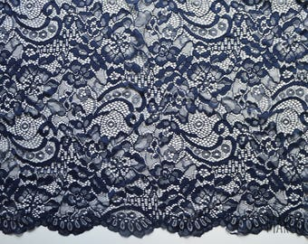 Navy blue embroidery lace - soft and silky