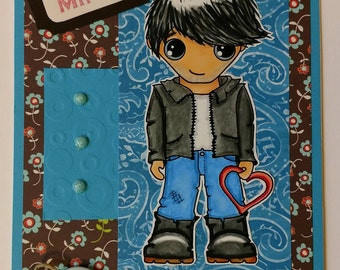 Be Mine, Handmade one of a kind Valentine's Card with cute guy