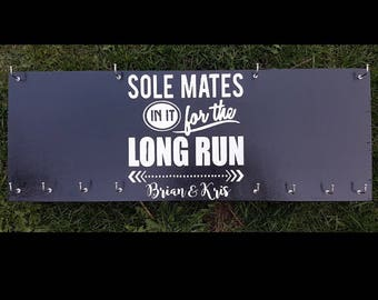 Couples gift for runner/Rsace bib and medal holderwith his and hers running bib/Sole mates in it for the long run