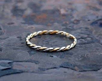 Sterling Silver and 14K Gold Fill Tight Twist Half Flat Ring by Navillus Metal Works: Simple Band