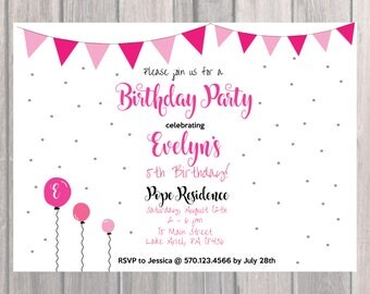 Flag Banner Birthday Party Invite, Custom Birthday Invite