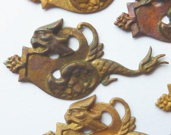 French Dragon Pendant(1 pc)Vintage Serpent Pendant/Vintage Brass Stamping/Larping Dragon/Rare Brass Stamping/French dragon Pendant