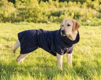 Dog Bathrobe marine blue - Made to Order - Doggy bathrobe