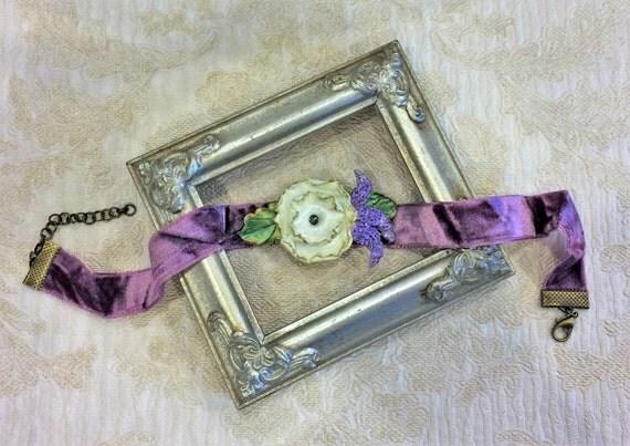 White Poppy Purple Crushed Velvet Choker, Botanical Necklaces