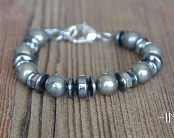 Bracelet steel, pyrite and hematite 10mm INZ - I man - model stone