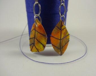 Paper leaf earrings with purple
