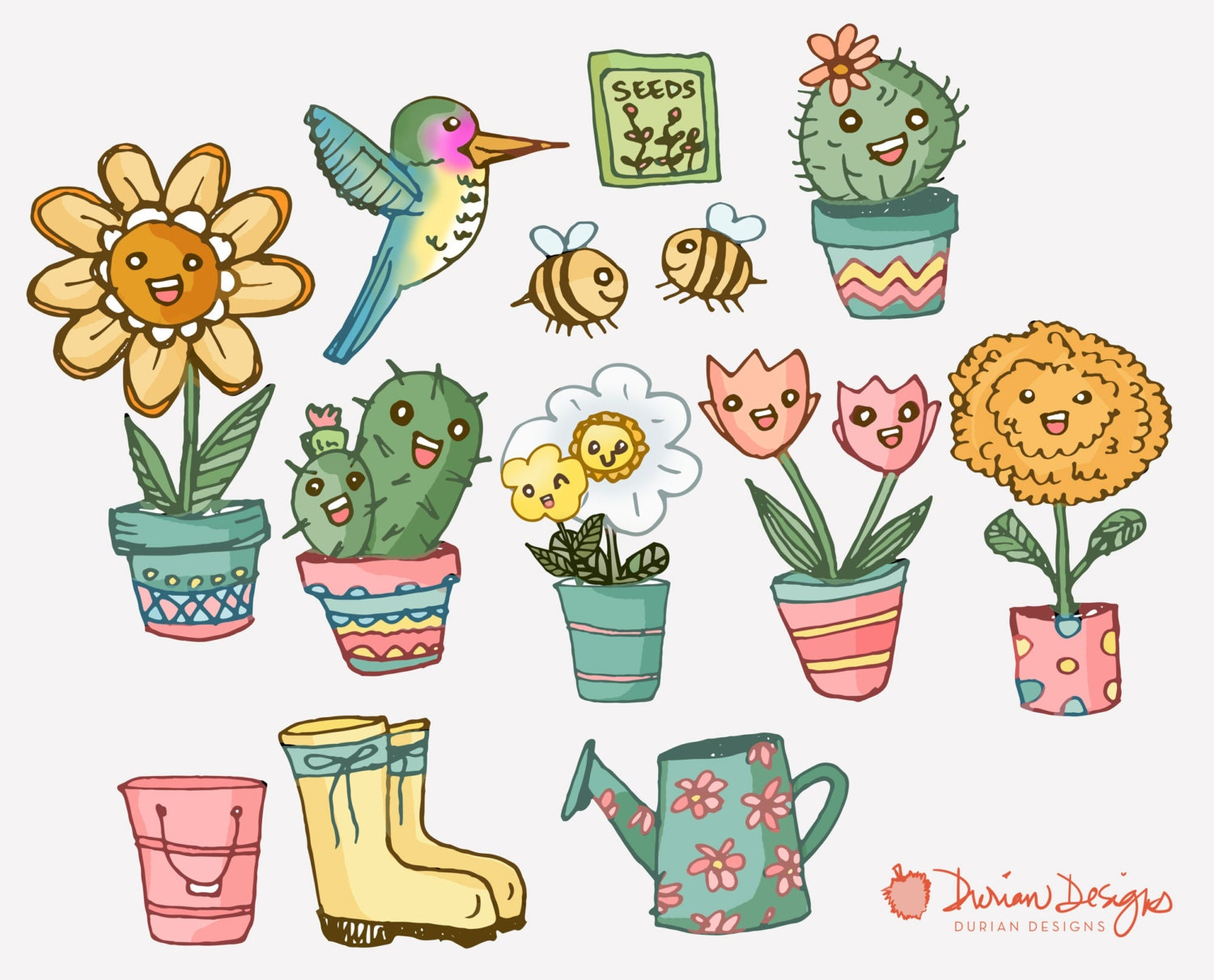 Cactus flower pots clipart commercial use, daisies ...