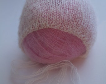 Simple Knit Newborn Mohair Bonnet Photo Prop Made to Order