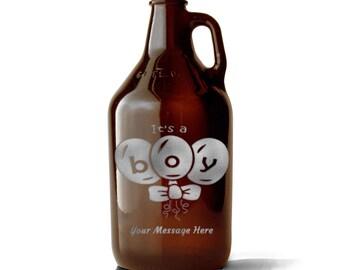 Custom Growler, Baby Shower Gift, Newborn, Etched Growler, Personalized Growler, Growler, Beer Gift, Growler, Brewery Gift, Baby Gift, Beer