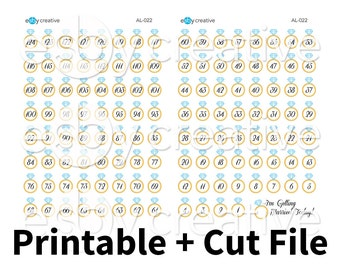 Wedding Countdown - Printable Planner Stickers + Cut File - AL-022 - INSTANT DOWNLOAD