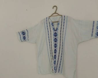 1970s linen-cotton Mexican embroidered boho tunic, large