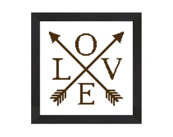 Love cross stitch, Arrow cross stitch, tribal cross stitch pattern pdf