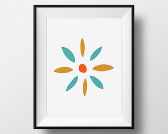 Flower Wall Art, Midcentury Retro Art, Turquoise Orange Art, Retro Flower Printable, Mid Century Modern Flower, 1960s Art, Aqua Orange Art