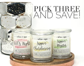 Pick Three Candles. You Pick Candles. Soy Candle Set. Non Toxic Candles. Candle Pack. Three Soy Candles. Gift Set. Scented Soy Candles.