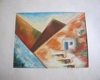 vintage pastel painting, Greek island, signed