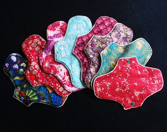 1, 3, 5 or 10 reusable washable cloth pantyliners by RedRagsPads, small 7.5 inches (19cm) - DISCOUNT the more you buy!